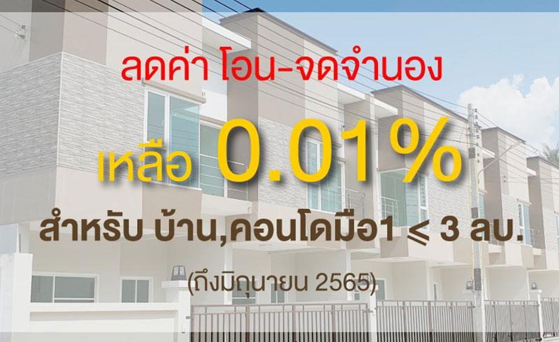 ขยายเวลาค่าโอนจำนองบ้านราคาไม่เกิน 3 ล้าน ถึงมิถุนายน 2565